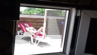 [ Caught On Hidden Cam XXX ] Sister watching porn and masturbate brother caught in the backyard