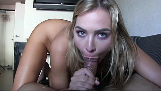 Cute blonde sister ejaculates all over his cock as brother gives her a creampie