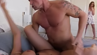Teen Daughters Masturbate To MILF Stepmom Getting Fucked
