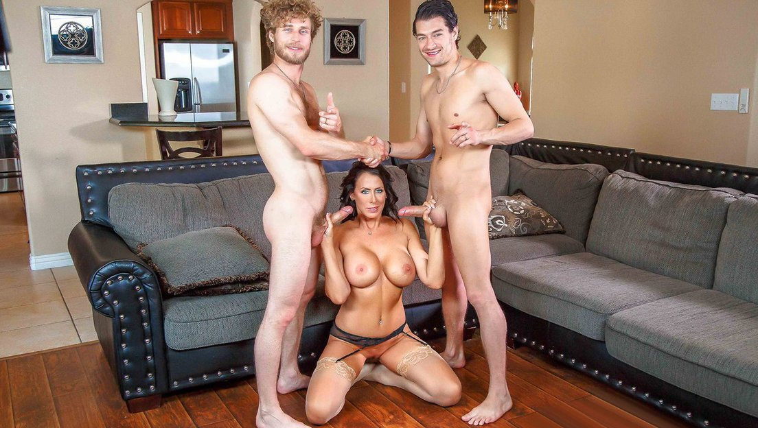 hot cougar mom teaches her sons in law how to use their
