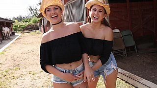 These two hot country sisters are just working on the farm after lesbian sex