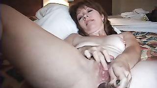 Horny wife masturbating on cuckold fantasies, she alone in hotel room