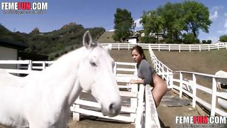 Slutty girl showed us some of the horses at her farm parents, being butt naked