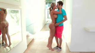 Hot mom love drives her young son crazy, and hard fuck