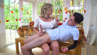 Mom jacks off son like a true diva until the guy cums all over her big tits