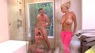 Young couple fucking in the shower and her mom has come in to join in on the fun.