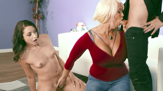 Pervert mom teaches her daughter how to suck that big dick