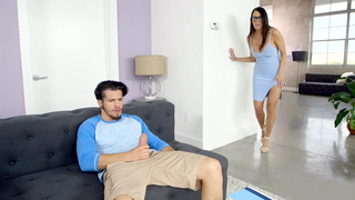 Perfect brunette mom caught the her son jerk to his dick