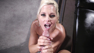 Great scenes of porn when mom swallows son load after a great fuck