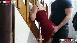 Son rape mom after the woman showed up half naked and very slutty