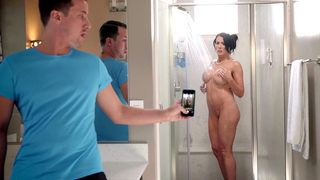 Sexy ass mom caught naked and fingering while alone in the shower