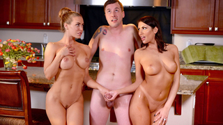 Husband finds himself in a threesome with two hot babes, his beautiful wife and hot neighbor!