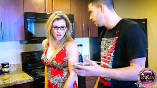 Mom blackmailed by sons, she gave him a deep blowjob