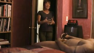 Mature Mom Watches Young Son Jerk Off