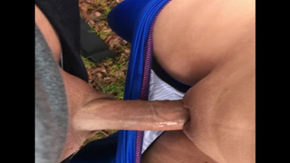 [ Son cums inside mom ]  My son cumming in my panties while playing outside