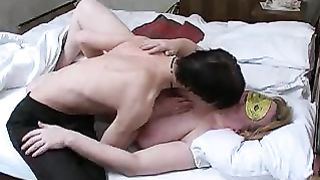 Son fucks sleeping mom and releases sperm all over her face and tits