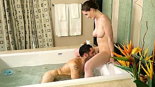 Brunette sister is just so happy to snack on brother cock while taking a nice, warm bath