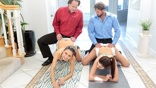 Horny dads strike a hot swapping deal and fuck each other's sexy daughters
