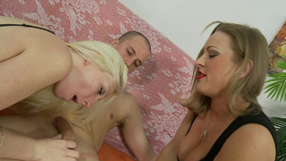 Mom in red lipstick sucks dick with a blonde daughter fuck