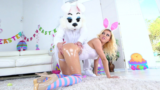 Stunning brunette in her bunny costume shows his cock a great time