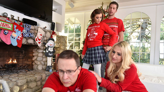 Naughty stepsister sucks and fucks her stepbrother on Christmas morning