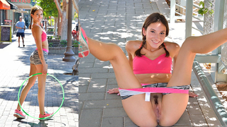 This gorgeous young girl shows me some choreography and her squirting talents