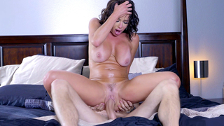 Brunette mom as doll with an awesome tan has her pussy utterly pummeled to bits
