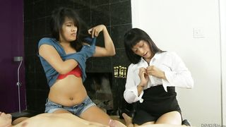 Two girls mom and daughter are doing hot things on a dudes hard cock here