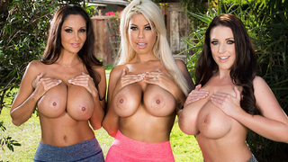 Three cougar housewives with big tits enjoying a big dick after their morning jog