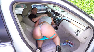 Beautiful blonde wife blows him in the car and licks on his balls to make him cum