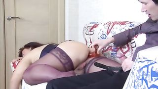 Son fucks sleeping mom and enjoys her very tight pussy in insane modes