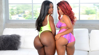 Two sexy black teens with big bubble butts pleasure this hard cock