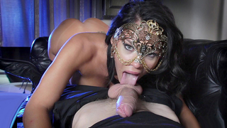 Spilling his cum straight in to this masked wife's craving mouth