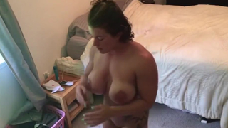 Cute amateur wife masturbating to porn! Goddess can't get enough