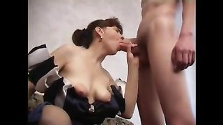Mom swallows cum after sucking dick in naughty manners while naked