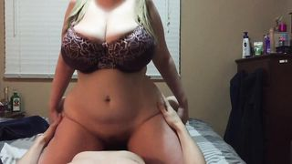 Chubby mom with a big, round ass rides his big dick