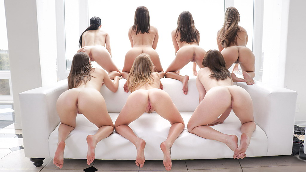 Naked women group bent over ass