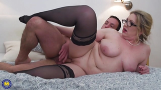 [ Homemade XXX incest porn ] Plump mom on the floor spreading her pussy and showing her ass for son