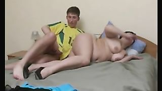 Son cums inside mom during a super hot orgasm in the end of sex
