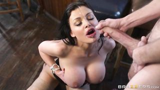Explosive titty cumshot after a blowjob from his beautiful mom