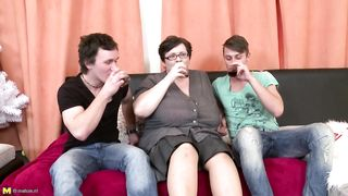 Tight-bodied brunette mom lets two son`s take turns to bang her pussy apart