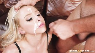Splitting this blonde cutie in half till he cums all over her silky, black lingerie