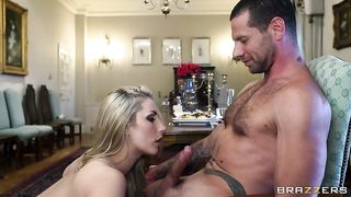 Stroking him fast for a cumshot right at her mouth after a slow blowjob