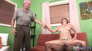 Husband lets a studly black guy creampie his 50 yo brunette wife