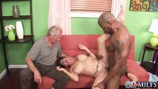 Husband lets a studly black guy creampie his 50 yo brunette wife