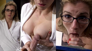 [ Mom gives son first blowjob ] Brunette wraps her lips around his cock and gives him a marvelous blow