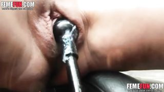 Mom masturbating with the gear shift and the parking brake
