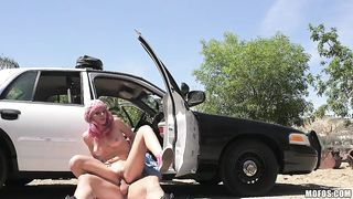 Sexy bitch fucked by a patrol officer by the side of the road