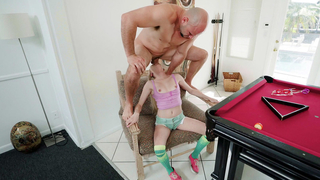 Sexy teen daughter gets face fucked on the chair by dad