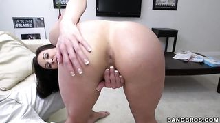 Sexy brunette  undressing in front of her fucker in her bedroom vigorously jiggles her thick booty